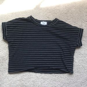 Striped Cropped Short Sleeve Top